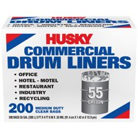 Husky 55 Gal Twist Tie 200 Ct Clear Commercial Can Liner
