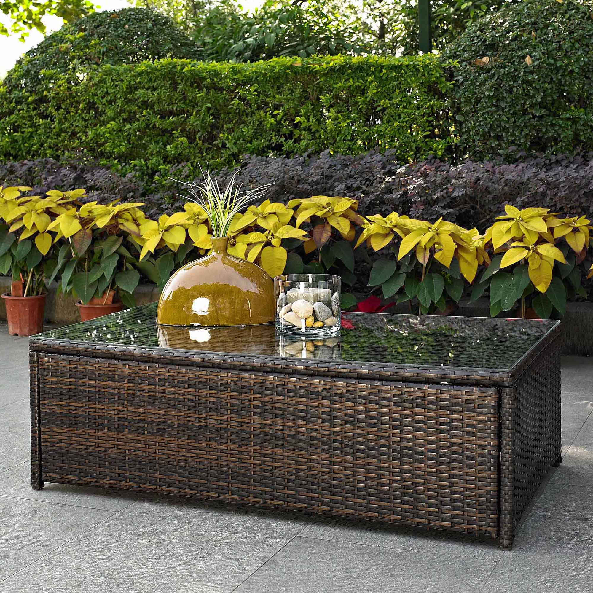 Crosley Furniture Palm Harbor Outdoor Wicker Glass Top Table