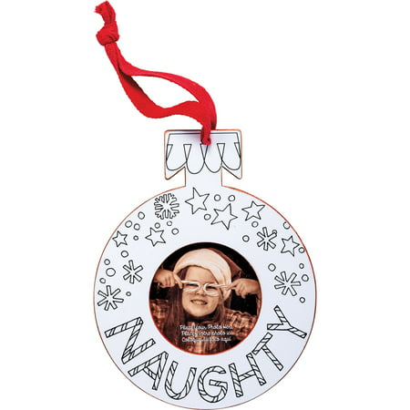 Primitives Holiday Photo Ornament Frame (Naughty) (Holiday Photo Frames)