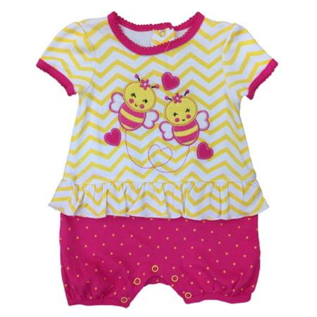 Infant Girls Baby Romper Yellow & Pink Bumble Bee Stripe Bodysuit Creeper 3-6m