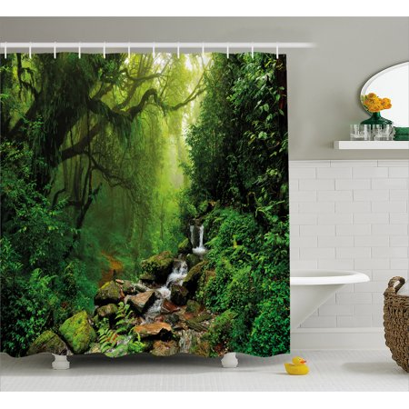 Hunters Bathroom Set (Nature Shower Curtain, Into the Woods Idyllic Forest Greenland Dreamy Mystic Fresh Tropical View, Fabric Bathroom Set with Hooks, 69W X 70L Inches, Emerald Hunter Green, by)