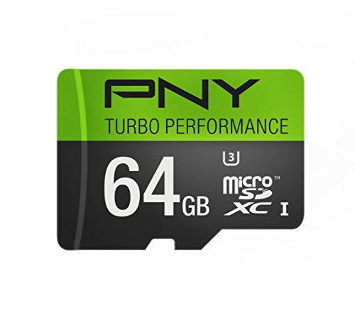 PNY Turbo Performance 64GB Lightning Speed MicroSDXC Class 10 UHS-I, U3 up to 90MB sec Flash Memory Card- P-SDUX64GU390G by PNY