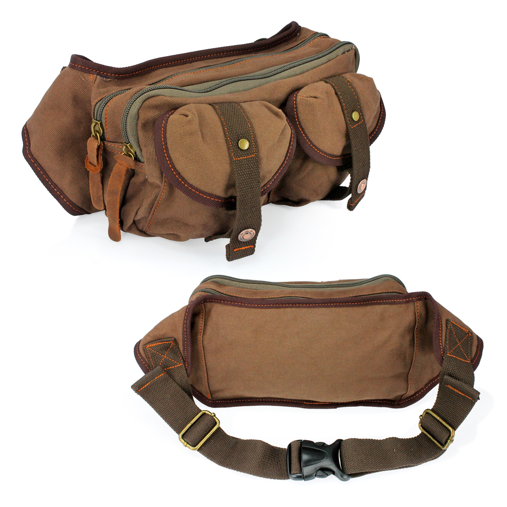 Men's Military Canvas Waist Leg Fanny Vintage Travel Waist Hip Pack Messenger Hiking Bag Wallet - Coffee