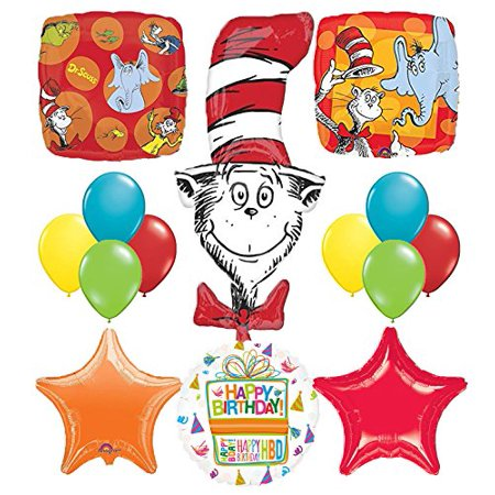 Dr Seuss Cat In The Hat Birthday Party Supplies and balloon Bouquet Decorations](Cat In The Hat Birthday Decorations)