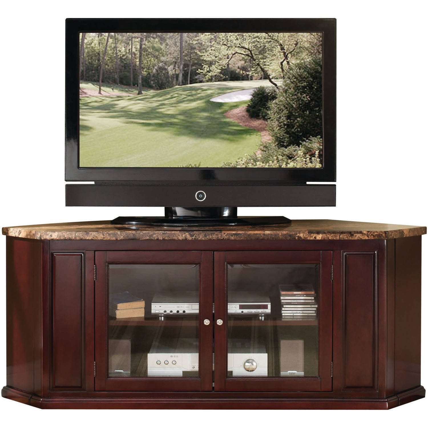 "ACME Nevin Corner TV Stand for Flat Screens TVs up to 60"", Faux Marble and Espresso"