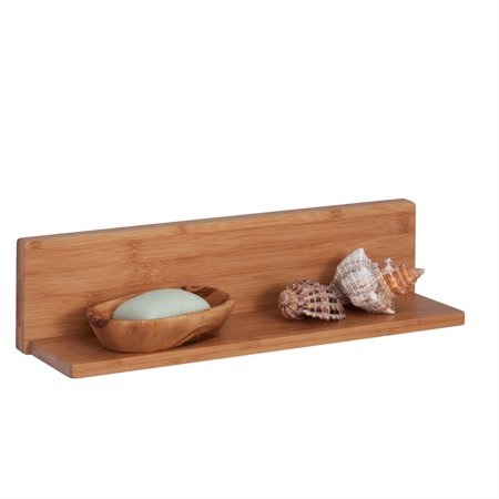 Honey Can Do Bamboo L-Shaped Shelf with 15lb Capacity, Brown ()