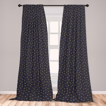 Night Sky Curtains 2 Panels Set, Hand Drawn Style Yellow Stars and White Dots Celestial Midnight, Window Drapes for Living Room Bedroom, Yellow White, by Ambesonne