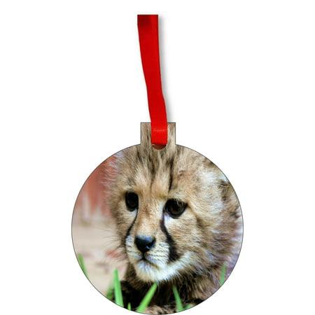 Cheetah Cub Round Shaped Flat Hardboard Christmas Ornament Tree Decoration - Unique Modern Novelty Tree Décor Favors