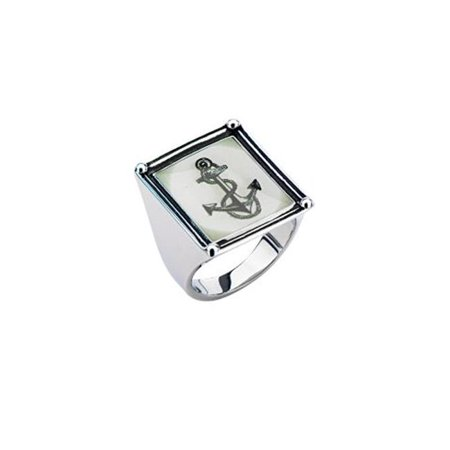 Inox Jewelry FRFR01-7 Anchor Vintage Frame Stainless Steel Ring - 7 in.