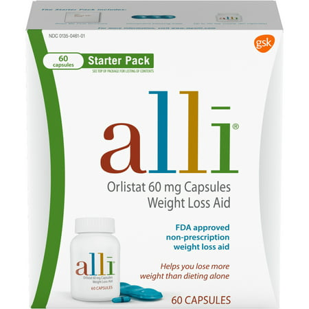 alli Diet Weight Loss Supplement Pills, Orlistat 60mg Capsules Starter Pack, 60