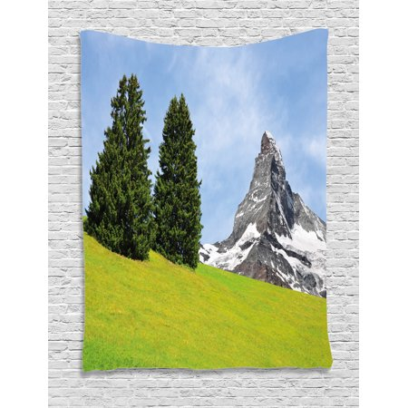 Farmhouse Decor Tapestry, View of Mountain Matterhorn in Peaceful Summer with Sun Rays Meadow Print, Wall Hanging for Bedroom Living Room Dorm Decor, 60W X 80L Inches, Green Blue, by Ambesonne - Ray Of Light Farm Halloween