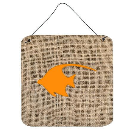 Fish - Angel Fish Burlap and Orange Wall or Door Hanging Prints BB1019