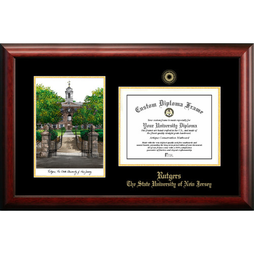 "Rutgers University, The State University of New Jersey, 8.5"" x 11"" Gold Embossed Diploma Frame with Campus Images Lithograph"