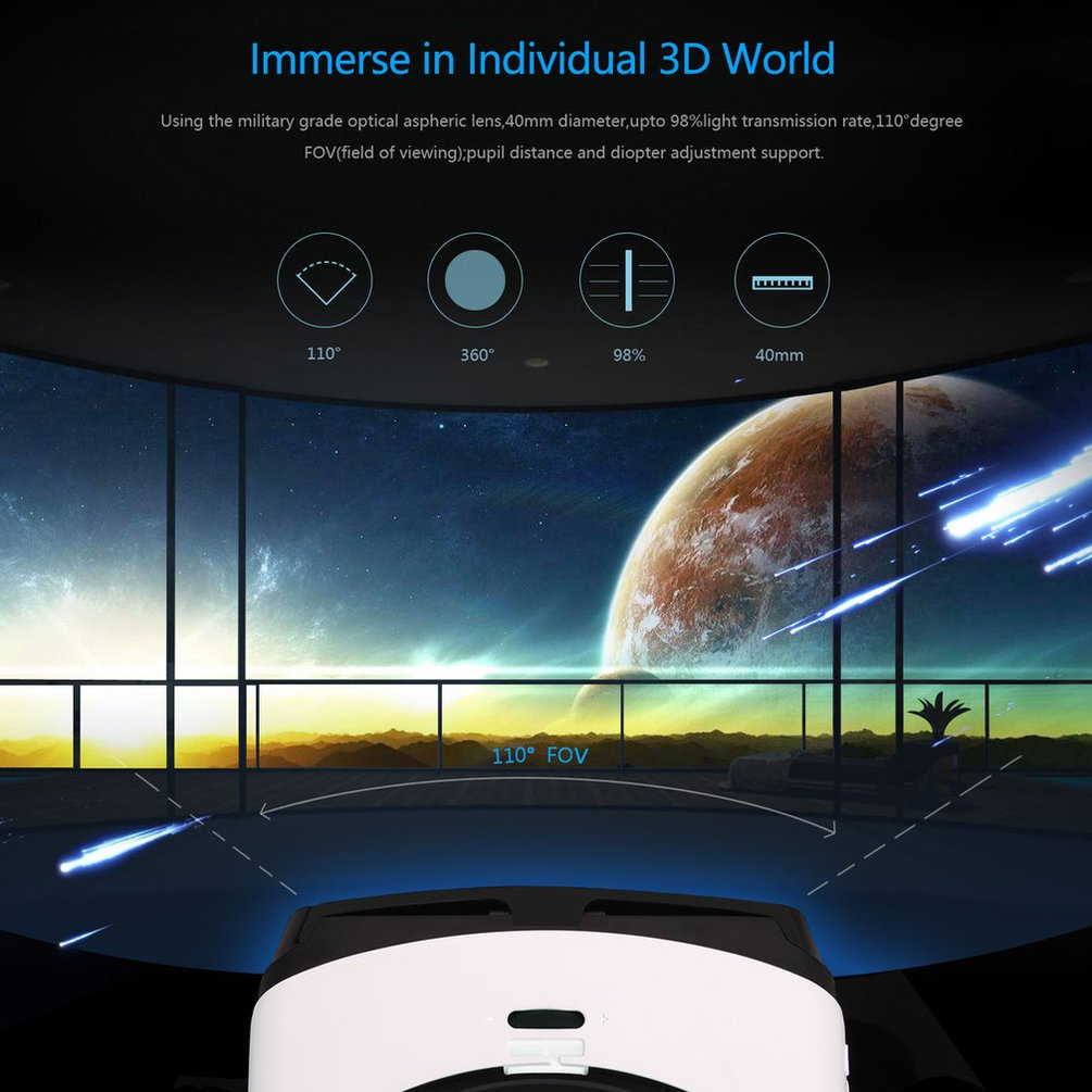 3D VR Glasses Bluetoot h 3D VR Glasses Headset Virtual Reality Goggles VR Box Play Movies Photos Enjoyment for Smartphones