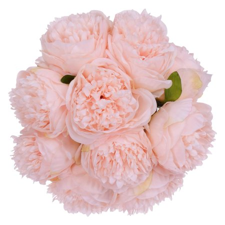 Vintage Peony Artificial Flowers - 2 Pack Silk Flowers Bouquet 10 Heads Peony Fake Flowers for Wedding Home Decoration(Pink) - Fake Pink Flowers