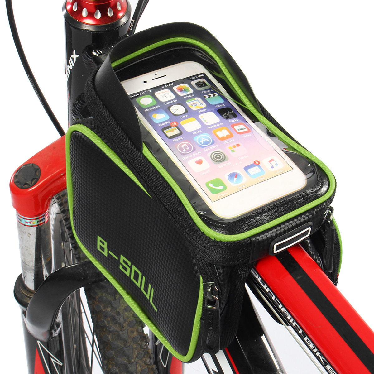 Waterproof Cycling Bicycle Bike Front Frame Pannier Tube Bag Saddle Double Pouch Bag Phone Holder For  6'' Mobile Phone