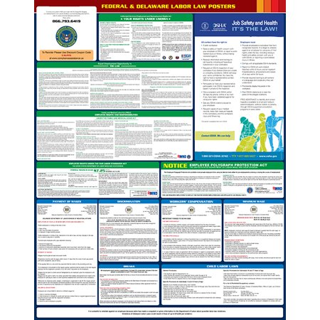 Compliance Assistance  2018 Delaware State And Federal All In One Labor Law Poster  Up To Date  Thick Lamination  Compact  Osha Compliant