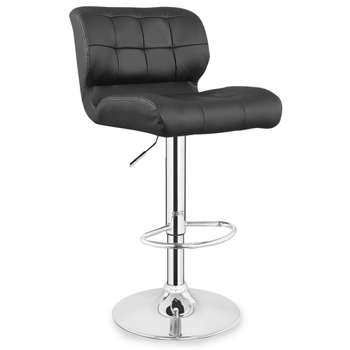 Leick Faux Leather Swivel Bar Stool in Black (Set of 2) by Leick Furniture