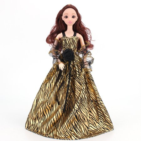 Gorgeous Gold Party Wedding Gown Princess Evening Dress with Lace Decoration for Dolls Color:Small stripes Height:Suitable for 29-30 cm dolls