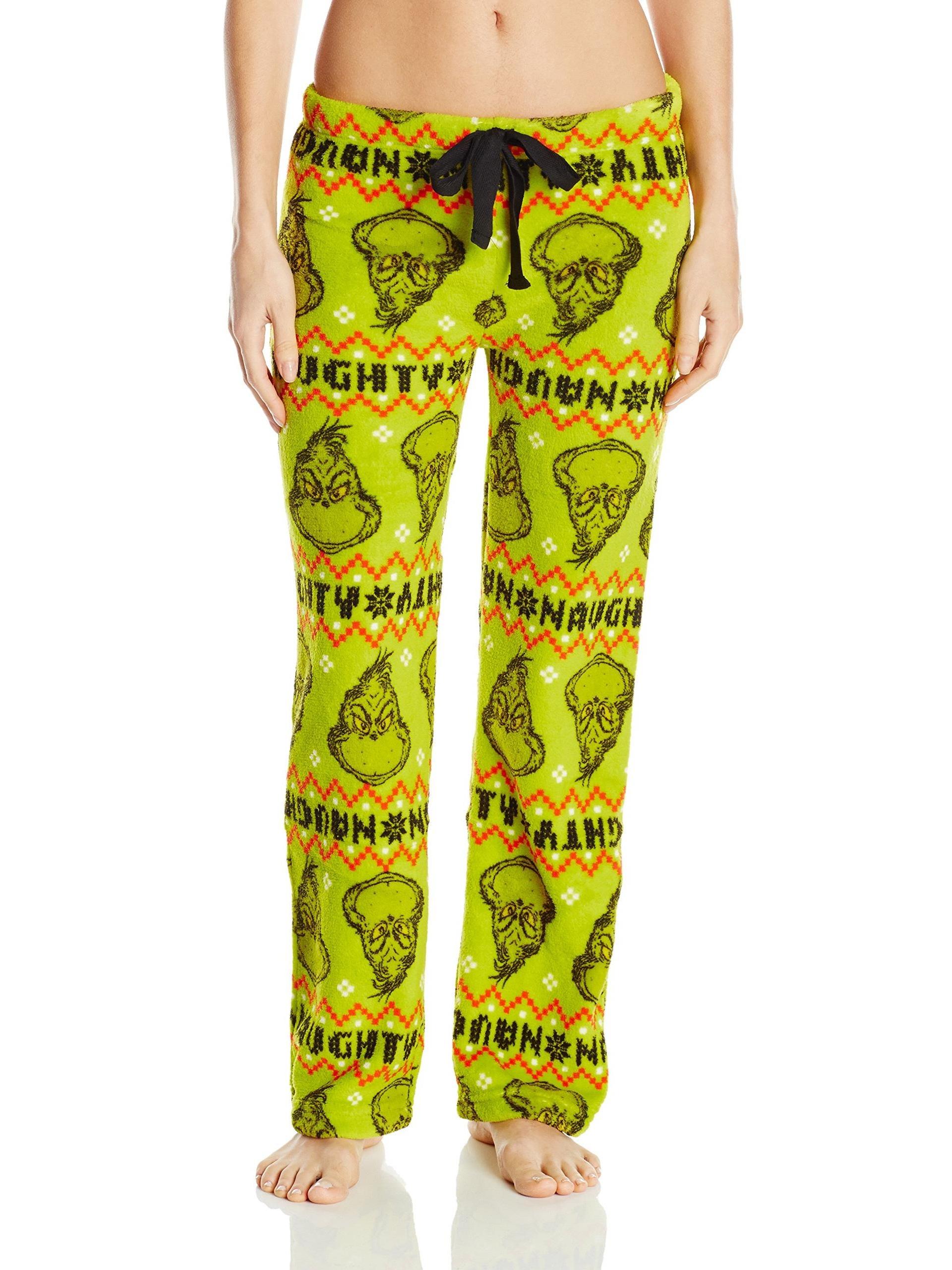 Dr.Seuss Women's Naughty Grinch Fairisle Plush Pant, Green, Size: Medium