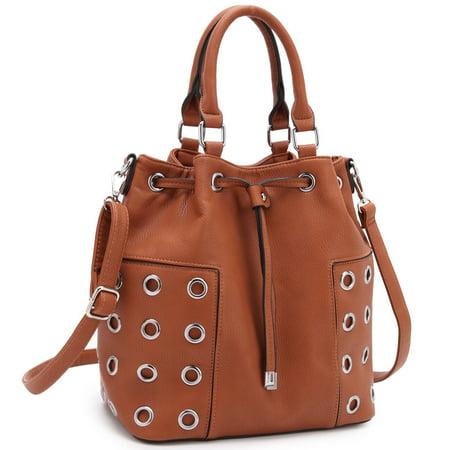 - Drawstring Bucket Satchel Handbag with Grommet Design