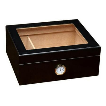 Black Finish Humidor - Prestige Import Group Chalet Glass Top Humidor