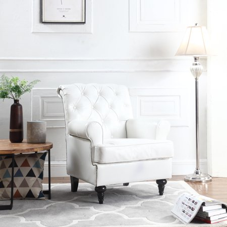 Tufted Scroll Arm Chesterfield Faux Leather Accent Chair, Living Room  Armchair with Nailheads, White