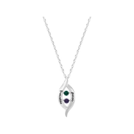 Keepsake Personalized Family Jewelry Women's Jumping Gemstones Crossover Pendant available in Sterling Silver, Gold over Silver, 10kt Yellow and White Gold ()