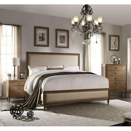 Acme Furniture 26077EK Inverness Reclaimed Oak Upholstered King Bedroom Set 3Pcs ()
