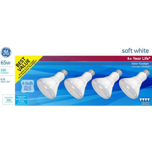 GE Incandescent 65W Soft White BR30 Indoor Flood Light 2x Life 4pk