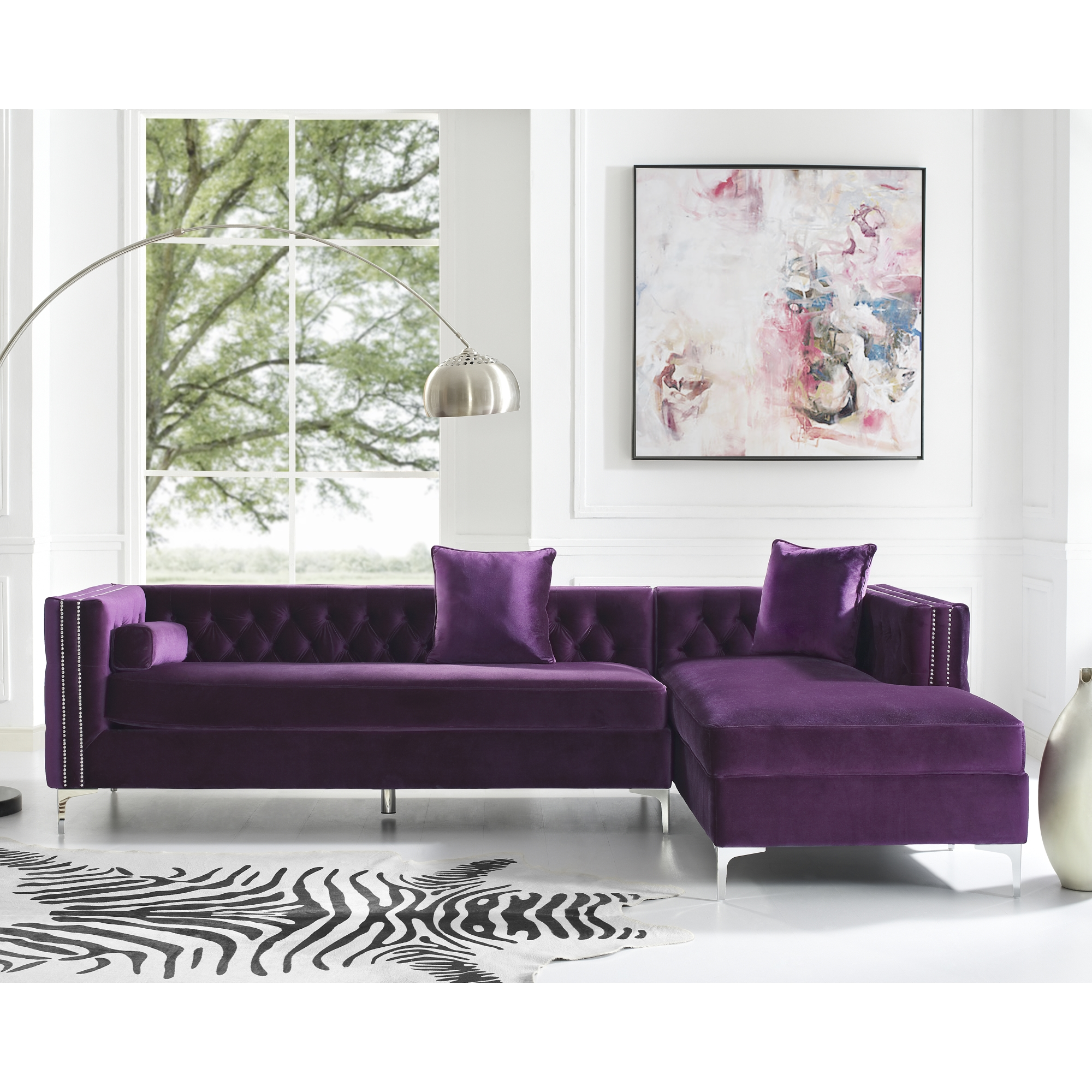 Picture of: Inspired Home Craig Purple Velvet Chaise Sectional Sofa 115 Right Facing Button Tufted Nailhead Trim Purple Walmart Com Walmart Com