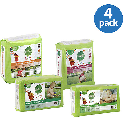Seventh Generation Free & Clear Diapers, (Pack of 4) (Choose Your Size)