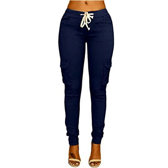 1872c9c1f JustVH Women's Casual Stretch Drawstring Skinny Cargo Jogger Pants High  Waist Tie Butt Lift Pant with Pockets - Walmart.com