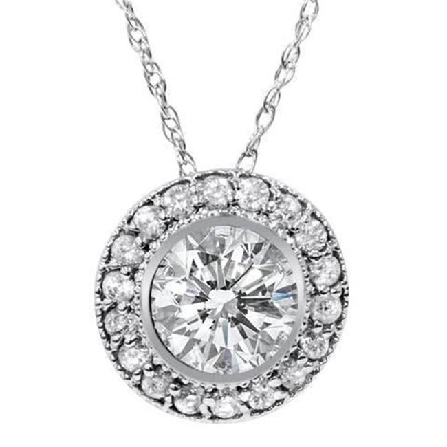Harry Chad Enterprises HC11175 2.50 CT Bezel Set Sparkling Diamonds Pendant Necklace - 14K White Gold - image 1 de 1