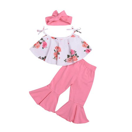 Fysho 3 Pack Summer Baby Girl Casual Sleeveless Floral Print Strap Design T-shirt Tops Trousers Headband Outfits Set ()