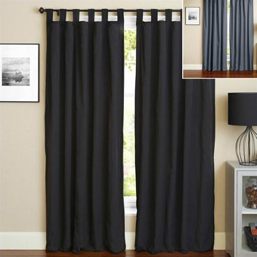 Blazing Needles 108 inch Twill Curtain Panels in Black and Steel Gray (Set of 2)