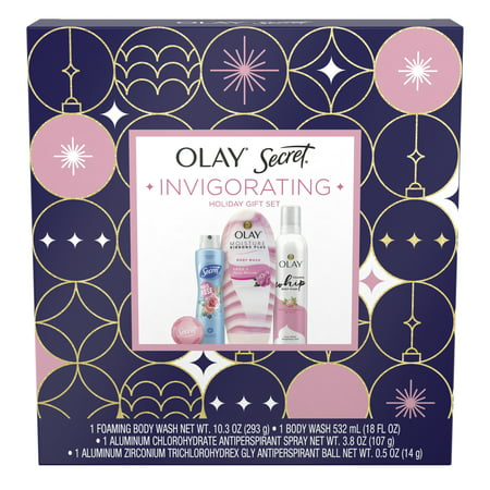 Olay & Secret Invigorating Holiday Gift Set (Foaming Body Wash + Ribbons Body Wash + Antiperspirant Spray + Antiperspirant Ball)