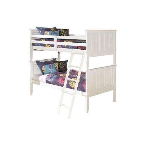 Twin Bunk Bed Rails And Ladder Lulu White