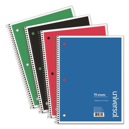 Classic Wirebound Cover (Wirebound Notebook, 1 Subject, Medium/College Rule, Assorted Color Covers, 10.5 x 8, 70 Pages,)