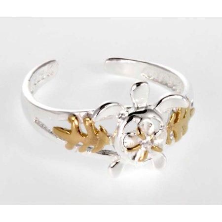 Hawaiian Jewelry - R.H. Jewelry Hawaii Silver Toe ring - Two Tone Sea Turtle Toering