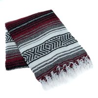 Classic Mexican Yoga Blanket by La Montana - Burgundy/Charcoal/White
