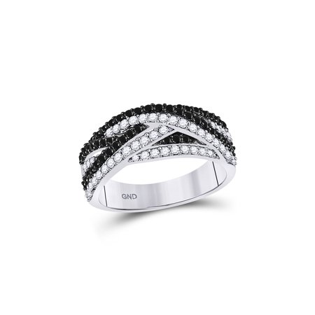 Woven Strand Spring Ring (14kt White Gold Womens Round Black Color Enhanced Diamond Woven Strand Band Ring 7/8 Cttw )