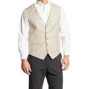 Perry Ellis Mens Big & Tall Linen Blend Suit Separate Vest Beige 4XLT