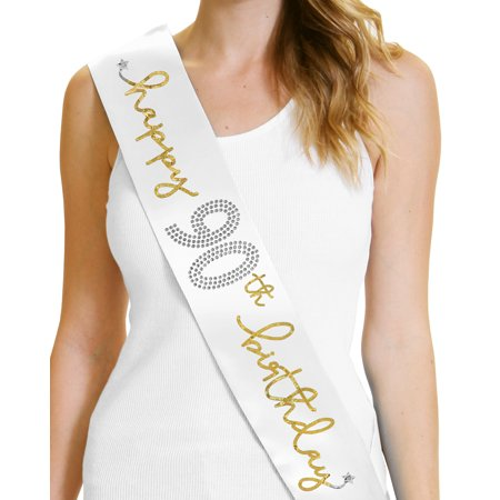 Happy 90th Birthday Metallic Gold Silver On White Satin Sash