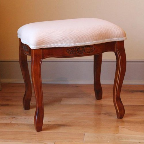 International Caravan Windsor Hand-Carved Cushioned Stool