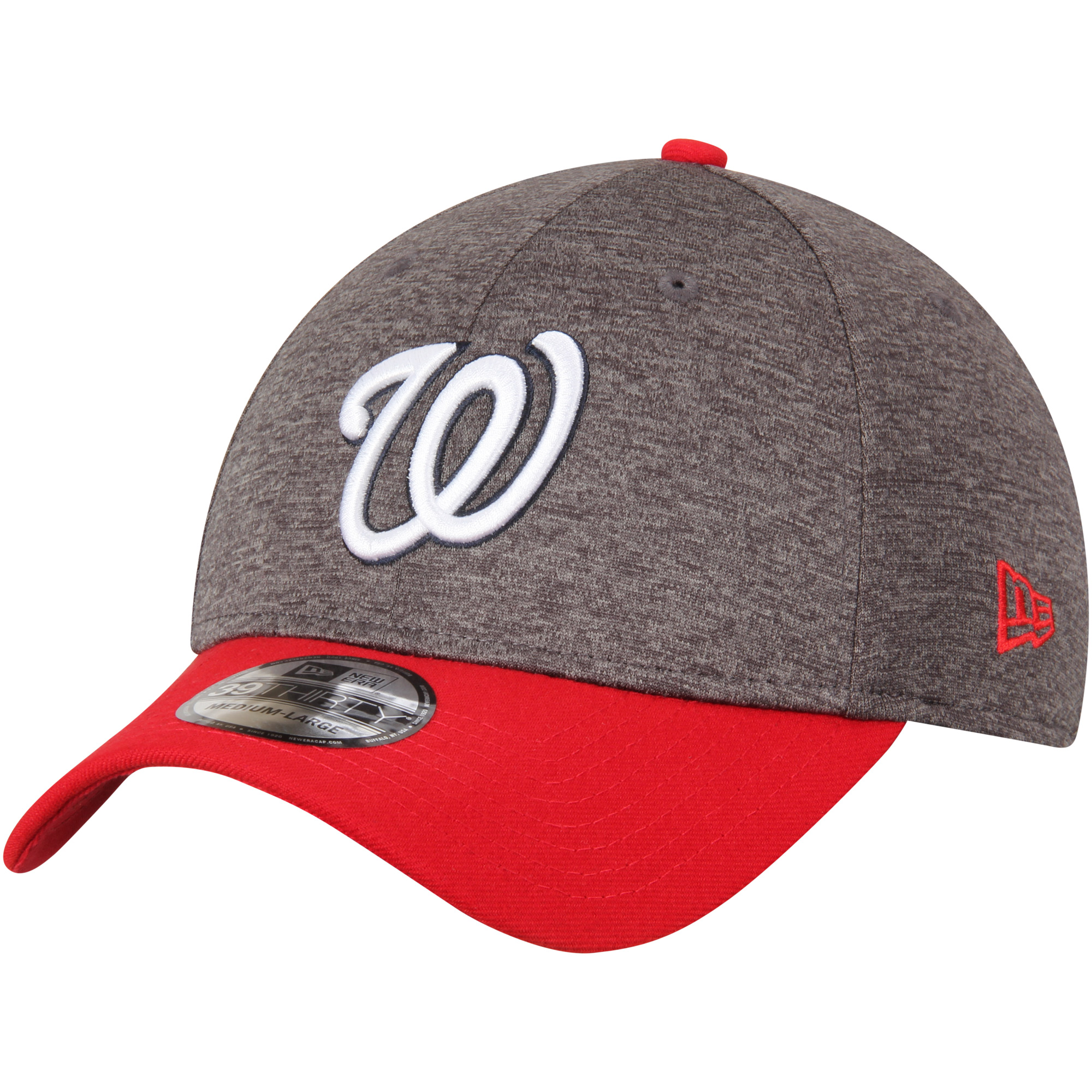 Washington Nationals New Era Adult 39THIRTY Shadow Tech Flex Hat - Heathered Gray/Red