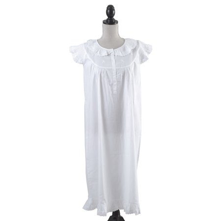 Handmade Girls' Embroidered Eyelet Accent Night Dress White (ages 2-3) ()
