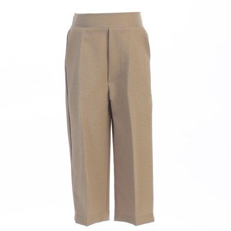 Brown Corduroy Boys Overalls - Baby Boys Khaki Elastic Waistband Special Occasion Long Dress Pants 18-24M