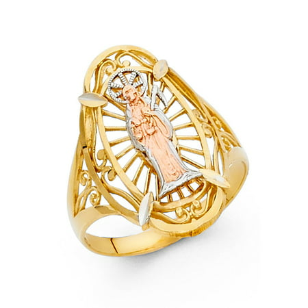 14k Tri Colored Tone Italian Solid Gold 20mm Band Celebrate Santa Muerte Ring Cocktail Gift Idea Size 5.5 Available All