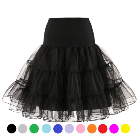 TOPTIE Women 50s Petticoat Skirts Rockabilly Dress Tutu Crinoline Underskirt Swing Dress Lady's Princess Skirt Christmas Skirt-Black-6 pcs of M (Rockabilly Halloween Tumblr)